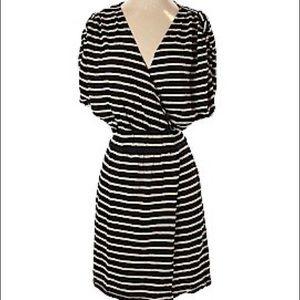 Geren Ford Bold Striped Faux Wrap Dress